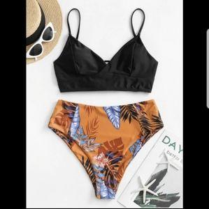 Floral Leaf Lace-up Tankini Swimsuit - Black